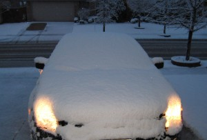snow-covered car