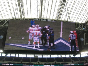 Team Captain hand shakes after the coin toss.